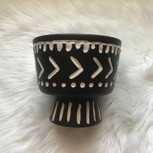 Other - Ceramic Tribal Bohemian Black Flower Vase